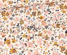 Baumwolle - Webware - Small Painted Flowers - Warmweiß/Senfgelb