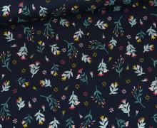 Baumwolle - Webware - Glitter Flowers - Stahlblau