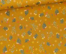 Baumwolle - Webware - Glitter Flowers - Senfgelb