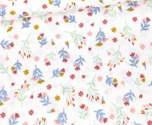 Baumwolle - Webware - Glitter Flowers - Weiß