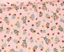 Baumwolle - Webware - Glitter Flowers - Babyrosa