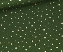 Baumwolle - Webware - Golden Glitter Dots - Tannengrün