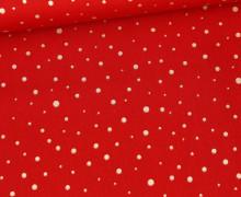 Baumwolle - Webware - Golden Glitter Dots - Rot
