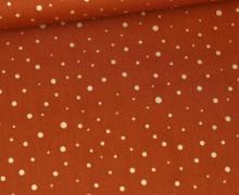 Baumwolle - Webware - Golden Glitter Dots - Rostorange