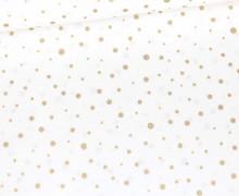 Baumwolle - Webware - Golden Glitter Dots - Weiß