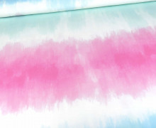 Sommersweat - Tie-Dye Love 2.0 - Batik - Colour Blocking - Türkis-Blau - Paneel - Bio Qualität - abby and me