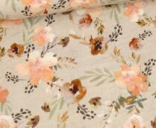 Bio Musselin - Muslin - Watercolour Flowers - Organic Cotton - Double Gauze - Sand