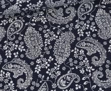 Bio Musselin - Muslin - Paisley Flowers - Organic Cotton - Double Gauze - Stahlblau