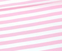 Jersey - Streifen - Gestreift - Weiß/Babyrosa
