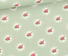 Baumwolle - Webware - Little Roses - Pastellgrün