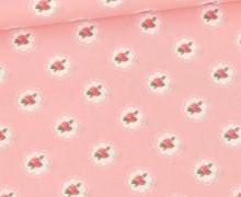 Baumwolle - Webware - Little Roses - Babyrosa