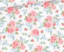 Baumwolle - Webware - Roses - Weiß