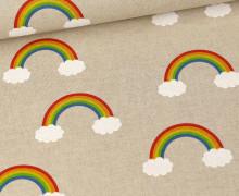 Half Panama Premium - Leinenoptik - Regenbögen Mit Wolken - Beige