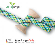 Flechtkordel - Hoodiekordel - Check - Flach - Twist Me - Ahoy - Hamburger Liebe - Weiß/Cyanblau/Stahlblau/Grasgrün/Gelbgrün