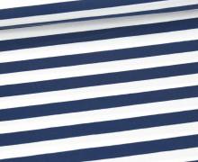 Bio-Single-Jersey - Sailor Stripes - Ahoy - Dunkelblau/Weiß - Hamburger Liebe