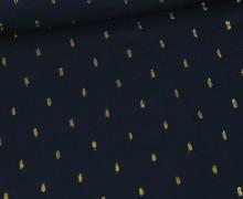 Viskose - Blusenstoff - Goldstriche - Stahlblau