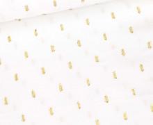 Viskose - Blusenstoff - Goldstriche - Weiß