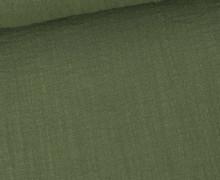 Musselin - Muslin - Uni - Slub Washed - Double Gauze - 115gr - Schnuffeltuch - Windeltuch - Schilfgrün