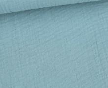 Bio Musselin Lotta - Muslin - Uni - Organic Cotton - Double Gauze -  Taubenblau