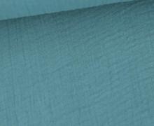 Bio Musselin Lotta - Muslin - Uni - Organic Cotton - Double Gauze -  Pastelltürkis Dunkel