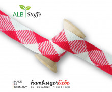 Flechtkordel - Hoodiekordel - Flat - Flach - Ahoy - Twist Me - Hamburger Liebe - Weiß/Dunkelrot