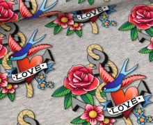 Bio-Sommersweat - French Terry - Tattoo Love - Ahoy - Hellgrau Meliert - Hamburger Liebe
