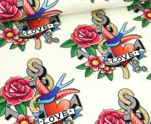 Bio-Sommersweat - French Terry - Tattoo Love - Ahoy - Ecru - Hamburger Liebe