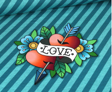Bio-Sommersweat - French Terry - Love Panel - Ahoy - Türkis Meliert/Petrol - Hamburger Liebe