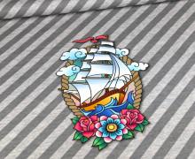 Bio-Sommersweat - French Terry - Sail Away Panel - Ahoy - Hellgrau Meliert/Grau Meliert - Hamburger Liebe