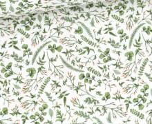 Musselin - Muslin - Double Gauze - Bedruckt - Kleine Grüne Blätter & Blütenzweige - Weiß