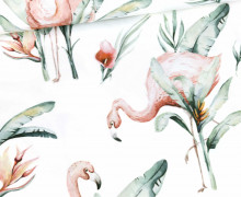 Modal - Jersey - Wild Paradise - Flamingo - Weiß - Bio-Qualität -  abby and me
