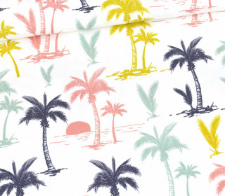 Modal - Jersey - Colorful Palm Trees - Weiß - Bio-Qualität -  abby and me