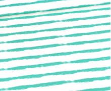 Jersey - Fresh And Cool - Streifen - Türkis - Kombistoff - Weiß - Bio-Qualität -  abby and me
