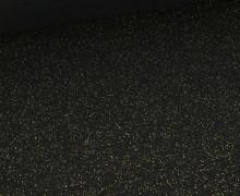 Glattes Bündchen - Glitzer - Uni - Schlauchware - Schwarz/Gold
