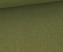 Glattes Bündchen - Glitzer - Uni - Schlauchware - Olivgrün/Gold