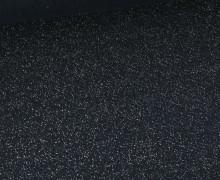 Glattes Bündchen - Glitzer - Uni - Schlauchware - Stahlblau/Silber
