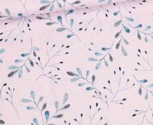 Baumwolle - Webware - Timeless - Aquarellblätter - Lavendel Pastell - Gütermann