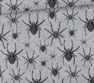 Sommersweat - Scary Spiders  - Big Spiders - Kombistoff - Halloween - Grau Meliert - abby and me