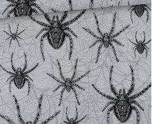 Sommersweat - Scary Spiders  - Small Spiders - Kombistoff - Halloween - Grau Meliert - abby and me