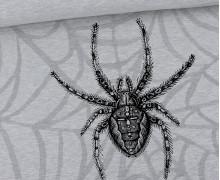 Sommersweat - Scary Spiders - Kreuzspinne - Paneel - Halloween - Grau Meliert - abby and me