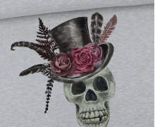 Sommersweat - Mystic Romance - Mr. Skull - Totenkopf - Paneel - Halloween - Grau Meliert - abby and me