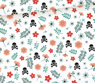 Sommersweat - Easy Halloween - Skulls and Flowers - Weiß - Halloween - Bio Qualität - abby and me