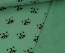 Bio Leichter Kuschelsweat - Soft Sweat - Organic Cotton - Waschbärgesichter - Patinagrün