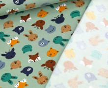 Bio Leichter Kuschelsweat - Soft Sweat - Organic Cotton - Sweet Animal Faces - Lichtgrün
