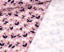 Bio Leichter Kuschelsweat - Soft Sweat - Organic Cotton - White Flowers - Lila Hell
