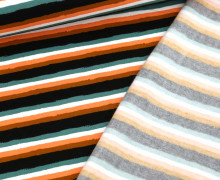 Leichter Kuschelsweat - Soft Sweat - Retro Stripes - Petrol/Schwarz/Weiß/Lehmbraun/Coralle