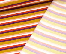 Leichter Kuschelsweat - Soft Sweat - Retro Stripes - Senfgelb/Weiß/Altrosa/Himbeere/Lila