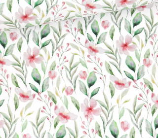 Sommersweat - French Terry - Aquarell Flower Meadow - Weiß