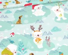 Modal - Jersey - Ice Ice Babybear - Kombistoff - Weihnachten - Pastelltürkis - Bio-Qualität - abby and me
