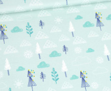 Modal - Jersey - Ice Ice Babybear - Bäume - Kombistoff - Weihnachten - Pastelltürkis - Bio-Qualität - abby and me